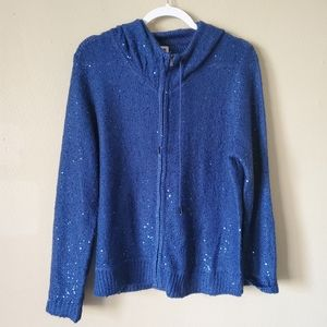 Anne Klein Blue Sparkly Zip Up Jacket Large